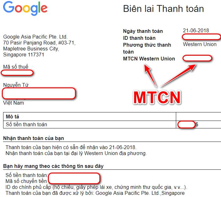Cach nhan tien Google Adsense qua Western Union 1